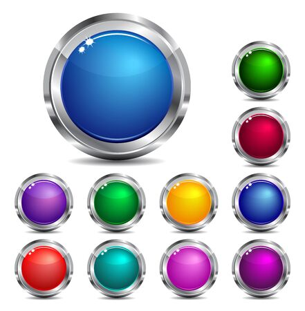 shiny button: Web Site & Internet buttons - Eleven colors Illustration