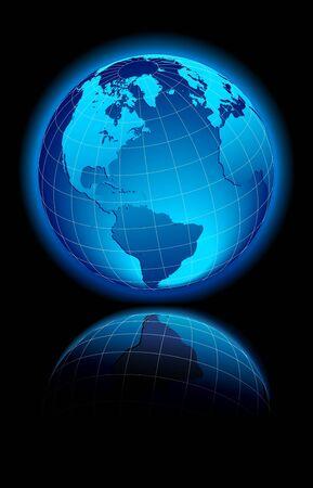 Globe World America, Europe 일러스트