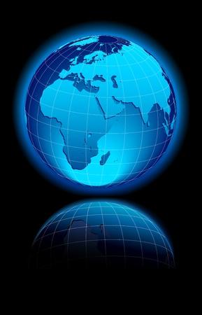 世界、中東、アフリカ、ヨーロッパをグローブします。