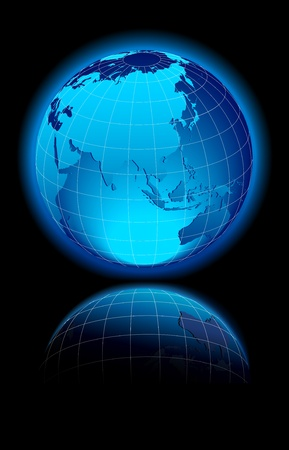 Globe World, China, Russia, India, Asia, 일러스트