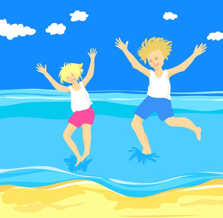 Children jumping in the sea, magical moment at the seaside Stock Vector - 9717961