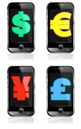 Pay by Mobile, Cell Smart Phone Dollar, Pound, Euro, Renminbi, Yen Stock Vector - 9830533