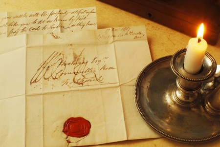 dickensian: Candle letter and seal from 1800 Stock Photo