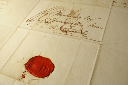 Close up of letter and seal from 1800