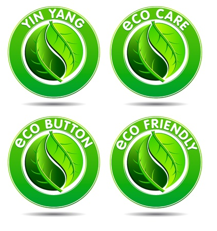 yin yang: Concepto de iconos verdes con Yin Yang en un dise�o de hoja