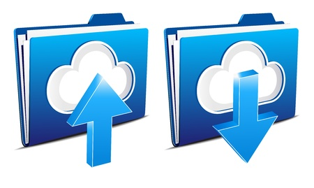 Cloud computing upload and download icons Vector