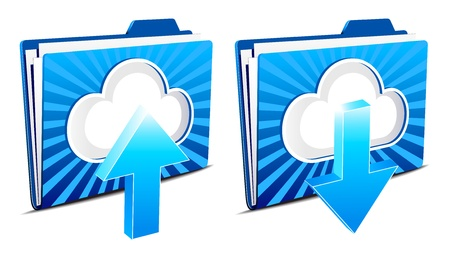 Cloud computing upload and download icons Stock Vector - 10313293