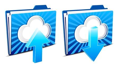 uploading: Il cloud computing di upload e download icone Vettoriali