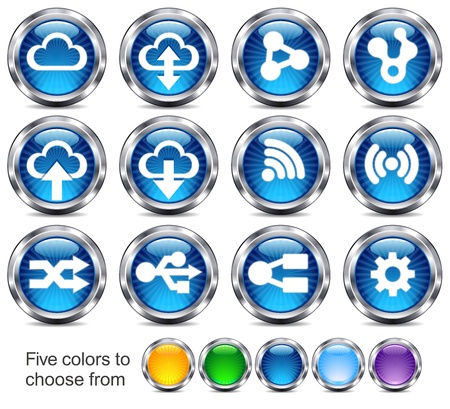 pushbuttons: Future technology icons - there are five colors in the .eps file