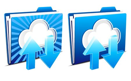 Upload and download folder icons from the virtual cloud Vector