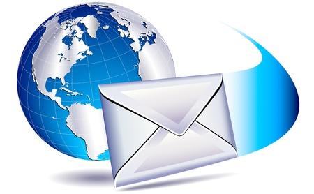 電子メールのメーリング リストの世界  イラスト・ベクター素材