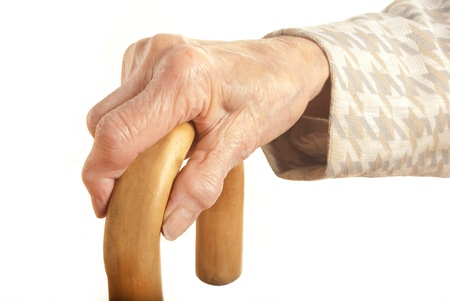 90: Old Lady with walking stick - My mother at 90 years old with arthritic hands Stock Photo