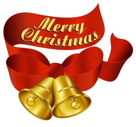 jingle bells: Merry Christmas with ribbon and bells Illustration