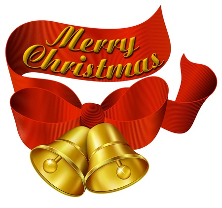 jingle bells: Ornate Merry Christmas Bells with ribbon
