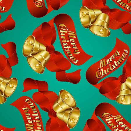 Seamless Merry Christmas Bells wrapping paper pattern. Vector