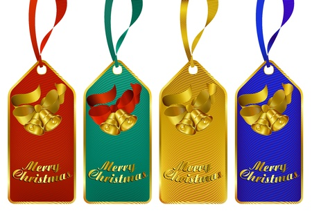 Merry Christmas gift tags in four rich colors Vector
