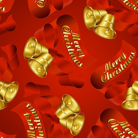 3d paper art: Seamless Merry Christmas Bells wrapping paper pattern. Illustration