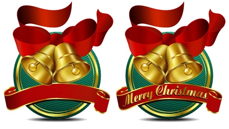 Merry Christmas Bells website Green banner Vector