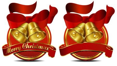 Merry Christmas Bells website Red banner  Vector