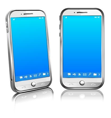 セルのスマートな携帯電話 3 D と 2 D ホワイト