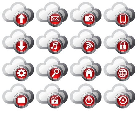 Cloud Computing icons virtual cloud Stock Vector - 11243699