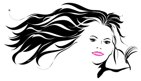 Women with hair blowing in the wind Vetores