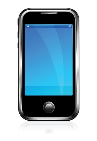 Cell Smart Phone Mobile black with reflection