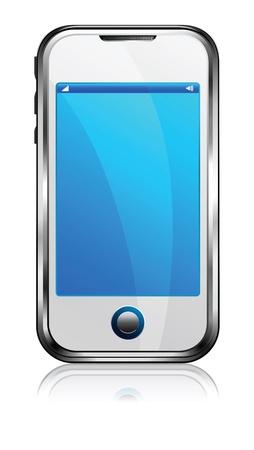 携帯スマート携帯電話白  イラスト・ベクター素材