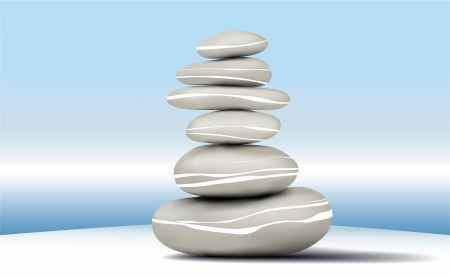 meditation stones: Stones stability - Layered Vector file Illustration