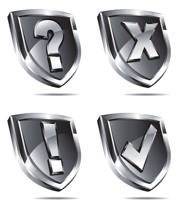 an antivirus: Silver Shields depicting protection Antivirus security firewall