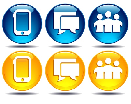 Phone, Group, Speech bubble communication icons