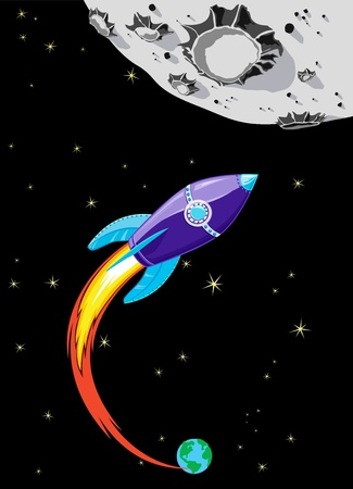 cartoon rocket: Retro Rocket Spaceship to the Moon