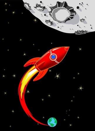 raumschiff: Retro Rocket-Raumschiff zum Mond - Rot