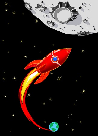cartoon rocket: Retro Rocket Spaceship to the Moon - Red