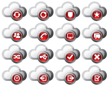archive site: Virtual cloud icons Set Two Red