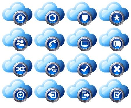 Virtual cloud icons Set Two Blue