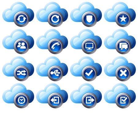 backups: Virtual cloud icons Set Two Blue