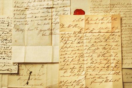 古い手紙エレガントな手書きの背景 報道画像
