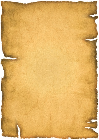 Old parchment isolated on a white background photo