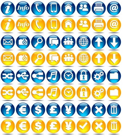 yes or no to euro: Basic set of modern web  mobile application icons Illustration