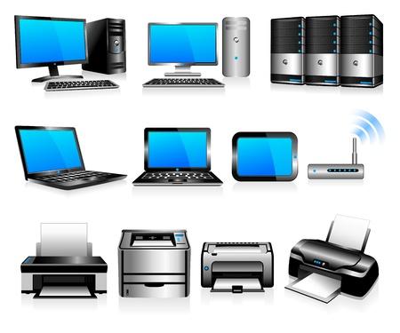 equipos: Computadoras Impresoras Tecnolog�a - Todos los elementos se agrupan y en capas individuales en el archivo para facilitar su uso Vectores