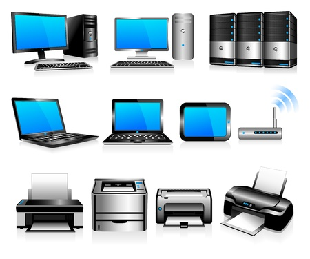 Ordinateurs Imprimantes Technologie - Tous les éléments sont regroupés et sur différentes couches dans le fichier pour une utilisation facile Vecteurs