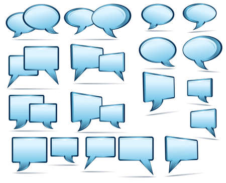 socializing: Silver blue and glass 3D and 2D speech bubbles