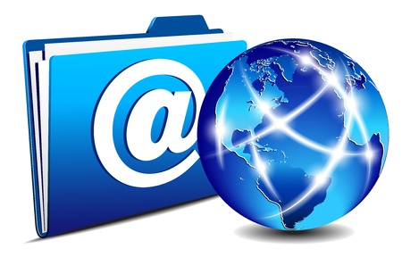 メール フォルダーと通信の世界、インターネット、ネットワークのコンセプト  イラスト・ベクター素材