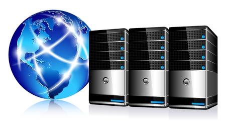 Serwery i Åšwiat Internet komunikacja Ilustracje wektorowe