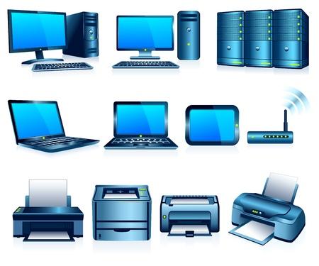 postazione lavoro: Computer Stampanti Tecnologia Elettronica Silver Blue Vettoriali