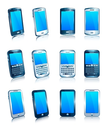 the blue cell: Phone Cell Smart Mobile Silver Blue 3D and 2D Illustration