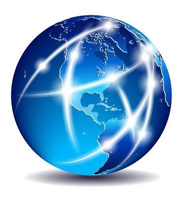 globo terraqueo: Comunicaci�n en el Mundo, Mundial de Comercio - Am�rica Vectores