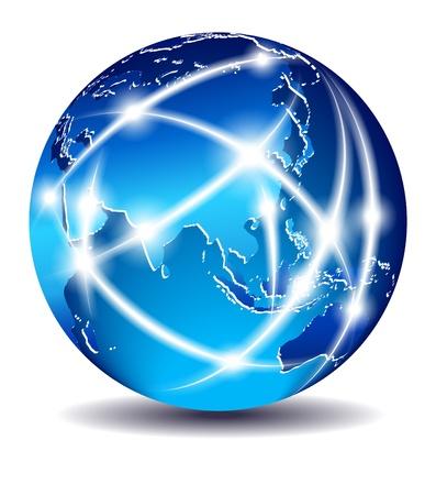 loin: Mondial sur la communication, au commerce mondial - la Chine, l'Extr�me-Orient Illustration