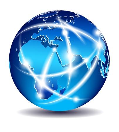 通信の世界では、グローバルな商取引 - ヨーロッパ、中東 - EPS 10  イラスト・ベクター素材